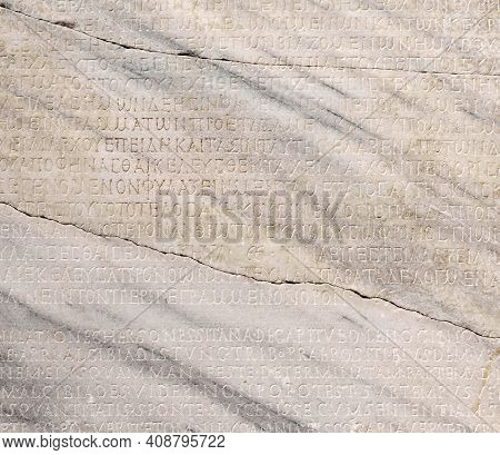 Sevastopol, Crimea - January 31, 2021: Fragment Of A Marble Slab With A Carved Text On The Collectio
