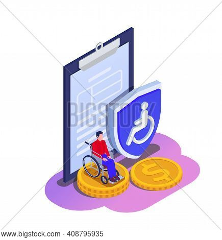 Social Security Unemployment Family Benefits Isometric Composition With Disabled Person On Wheelchai