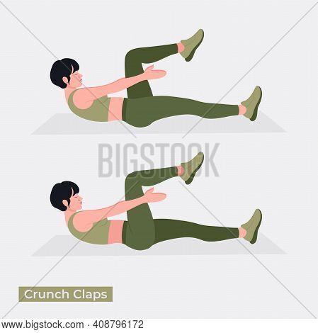 Crunch Claps  Exercise, Women Workout Fitness, Aerobic And Exercises. Vector Illustration.