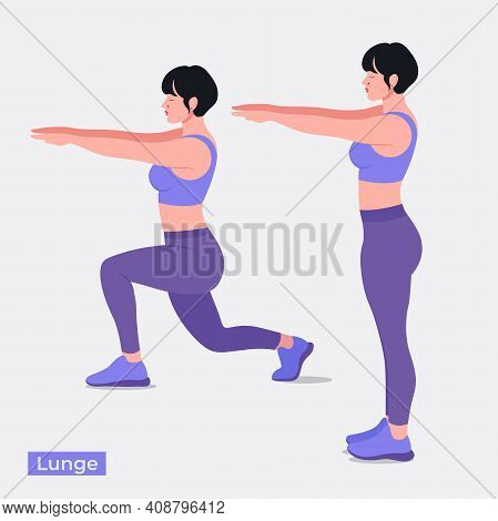 Lunge Exercise, Women Workout Fitness, Aerobic And Exercises. Vector Illustration.