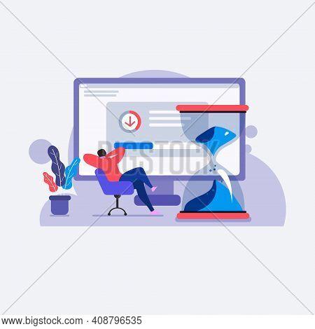 Slow Loading Internet Connection Vector Illustration Concept