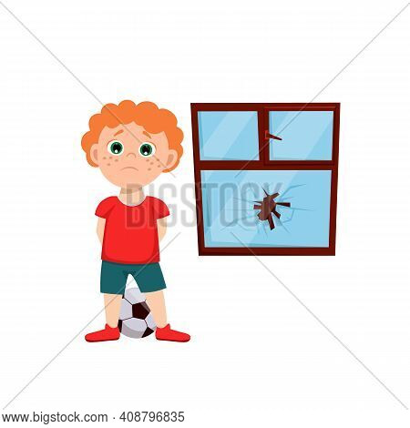 Naughty Boy Behavior. Sad Teenager Near The Broken Window. Usual Situation In Childhood. Typical Pro