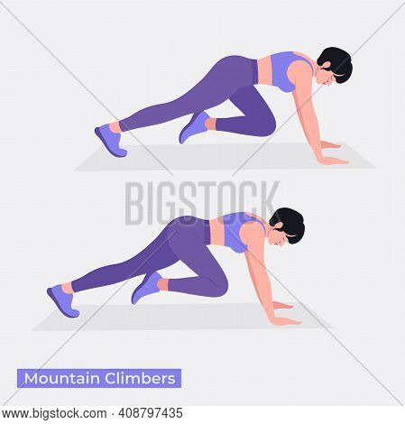 Mountain Climbers Exercise, Women Workout Fitness, Aerobic And Exercises. Vector Illustration.