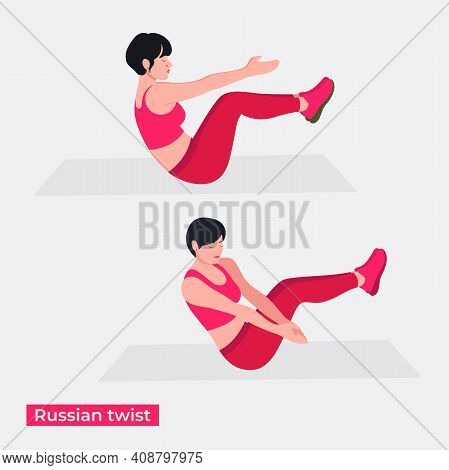 Russian Twist Exercise, Women Workout Fitness, Aerobic And Exercises. Vector Illustration.