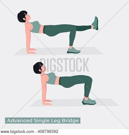 Advanced Single Leg Bridge , Women Workout Fitness, Aerobic And Exercises. Vector Illustration.