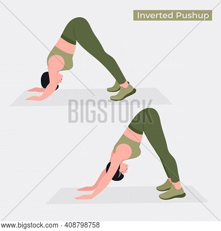 Inverted Push Up Exercise, Women Workout Fitness, Aerobic And Exercises. Vector Illustration.