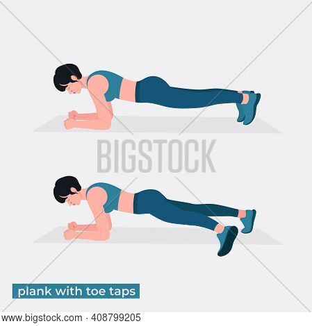 Plank With Toe Taps  Exercise, Women Workout Fitness, Aerobic And Exercises. Vector Illustration.