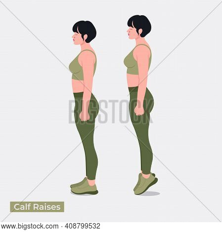 Calf Raises Exercise, Women Workout Fitness, Aerobic And Exercises. Vector Illustration.