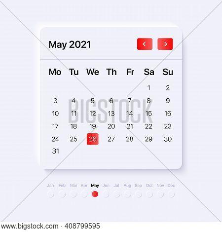 Calendar Widget Template. Ui, Ux, Gui Layout For Mobile And Web Application. Neumorphism Concept Des