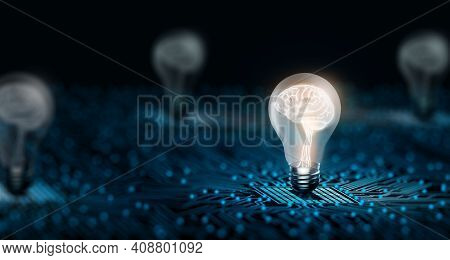 Light Bulb With Human Brain Inside Glowing On The Converging Point Of Circuit. Creative And Innovati