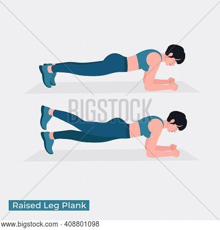 Raised Leg Plank Exercise, Women Workout Fitness, Aerobic And Exercises. Vector Illustration.