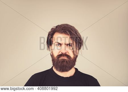 Isolated Shot Of Young Handsome Male With Beard, Mustache And Trendy Hairdo.
