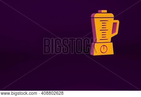 Orange Blender Icon Isolated On Purple Background. Kitchen Electric Stationary Blender With Bowl. Co