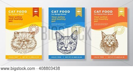 Cat Food Label Templates Set. Abstract Vector Packaging Design Layouts Collection. Typography Banner