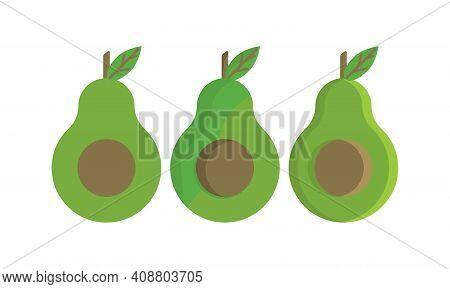 Bright Vector Set Of Colorful Half, Slice And Whole Of Fresh Avocado. Fresh Cartoon Avocados Isolate