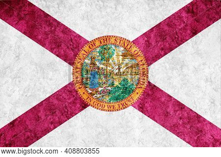 Metallic Florida State Flag, Florida Flag Background Metallic Texture