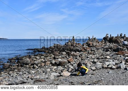 Rock Beach At Odiorne Point State Park In Rye, New Hampshire