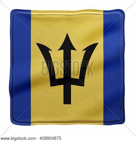 3d Rendering Of A National Barbados Fabric Flag Isolated On White Background