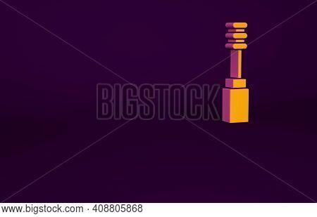 Orange Mascara Brush Icon Isolated On Purple Background. Minimalism Concept. 3d Illustration 3d Rend