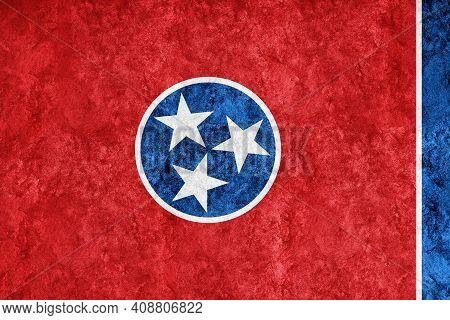 Metallic Tennessee State Flag, Tennessee Flag Background Metallic Texture