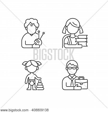 Aging Process Linear Icons Set. Elderly Woman. Schoolgirl. Female Toddler. Middle-aged Man. Pensione