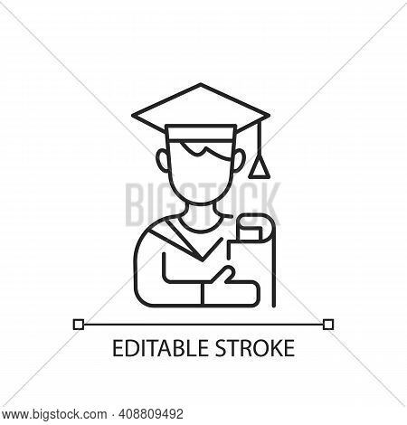 Male Student Linear Icon. Early Adulthood. Establishing Identity. Pursuing Education. Thin Line Cust