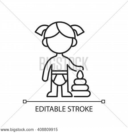 Female Toddler Linear Icon. Toddlerhood. Preschool Years. 12 To 36 Months Old Child. Thin Line Custo