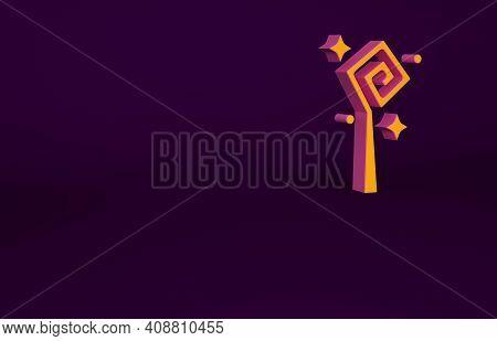Orange Magic Staff Icon Isolated On Purple Background. Magic Wand, Scepter, Stick, Rod. Minimalism C
