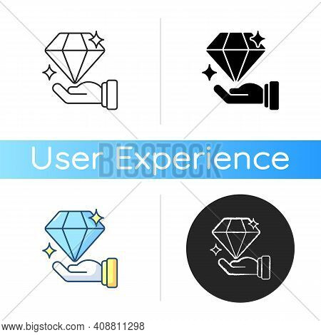 Valuableness Icon. User-centered Approach. Achieving Business Goals. Increasing Product Revenue. Inv