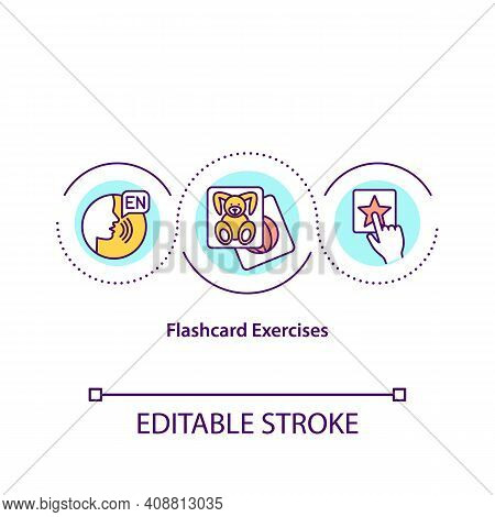 Flashcard Exercises Concept Icon. Special Method For Word Memorizing. Special Learning Methods In On
