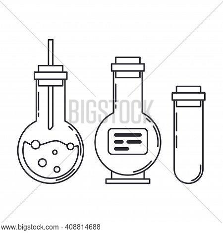 Line Medical Pharmaceutica Icon Set Retort, Tube. Professional Equipment Symbol. Science, Pharmacy,