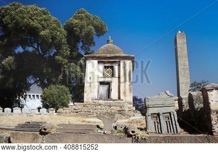 The Obelisk In Axum, Ethiopia Under Clear Blue Sky