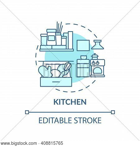 Cooking Area Concept Icon. Organising Dishes And On Kitchen Idea Thin Line Illustration. Tidying And