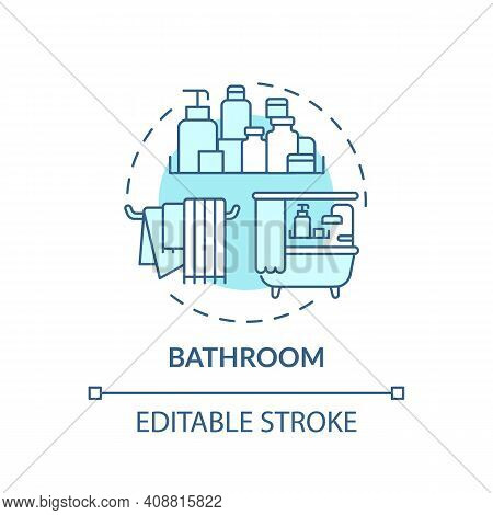 Bathroom Concept Icon. Tidying Rooms Of House Idea Thin Line Illustration. Disinfection And Cleaning