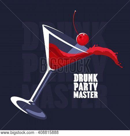 Splashing Cosmopolitan Cocktail Martini Glass Vector Illustration