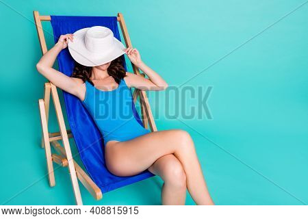Portrait Of Her She Attractive Slender Fit Thin Slim Girl Sitting In Chair Closing Face Taking Sun B