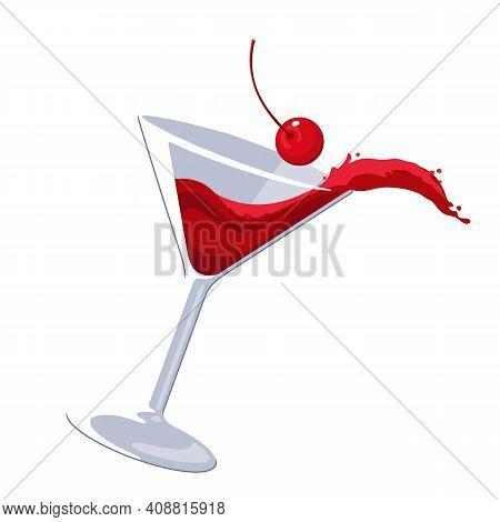 Splashing Cosmopolitan Cocktail Martini Cherry Vector Illustration