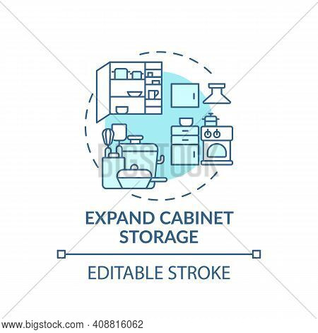 Expand Cabinet Storage Concept Icon. Using Cabinet Space Storage Idea Thin Line Illustration. Clean