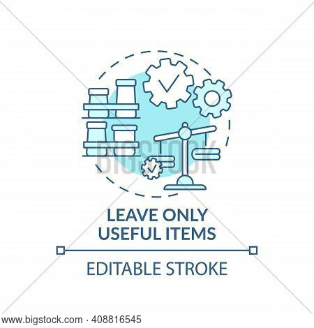 Leave Useful Items In Wardrobe Concept Icon. Clutter Things In House Idea Thin Line Illustration. We