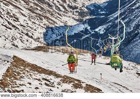 Terskol, Russia - January 24, 2021: Winter Mountain Landscape Of The Elbrus Region, Kabardino-balkar