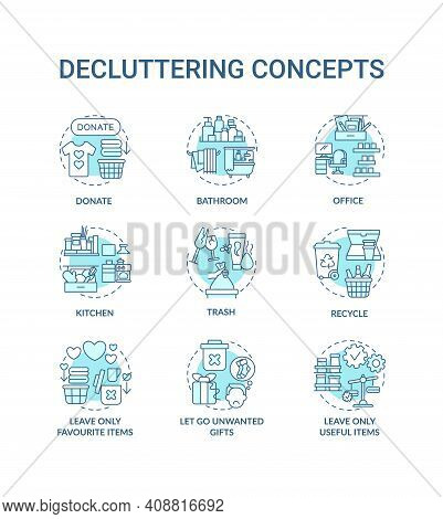 Decluttering Concept Icons Set. Trash And Recycling Idea Thin Line Rgb Color Illustrations. Letting