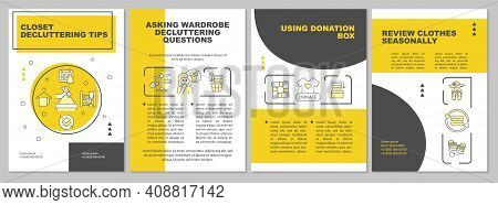 Closet Decluttering Tips Brochure Template. Using Donation Box. Flyer, Booklet, Leaflet Print, Cover