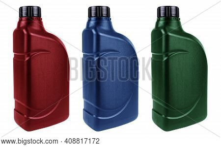 New Three Plastic Oil Canister Isolated On White Background With Clipping Path. Storage Tank. Canist