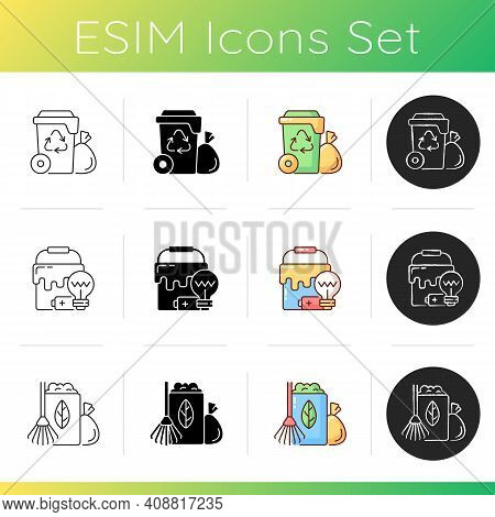 Waste Management Icons Set. Residential Waste Collection. Solid And Semi-solid Materials. Organic Wa