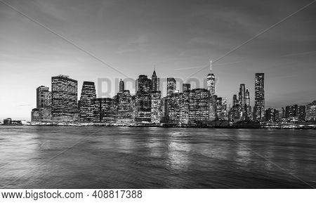 Manhattan Waterfront At Night, New York City, Usa.