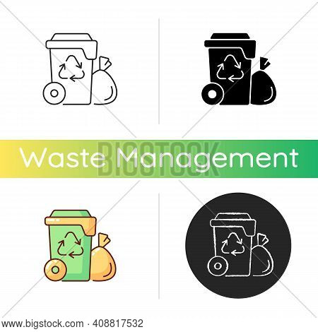 Residential Waste Collection Icon. Garbage Pickup From Home. Household Waste. Residential Services.