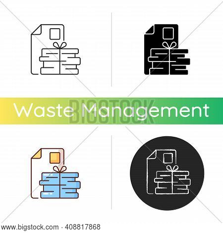 Waste Paper Icon. Paper Recycling. Paperboard, Cardboard Products. Turning Waste Into New Products.