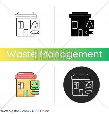 Recycling Collection Center Icon. Landfill And Material Recovery Facility. Drop-off Center. Trash Di