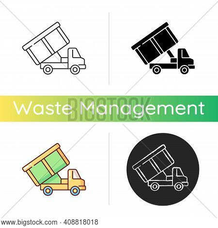 Roll-off Truck Icon. Open Top Dumpster. Organizational Clear Outs. Convenient Disposal Option. Hauli