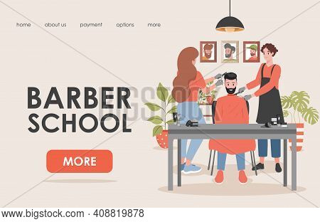 Barber School Vector Flat Landing Page Template With Text Space. Young Man And Woman Cutting Hair An